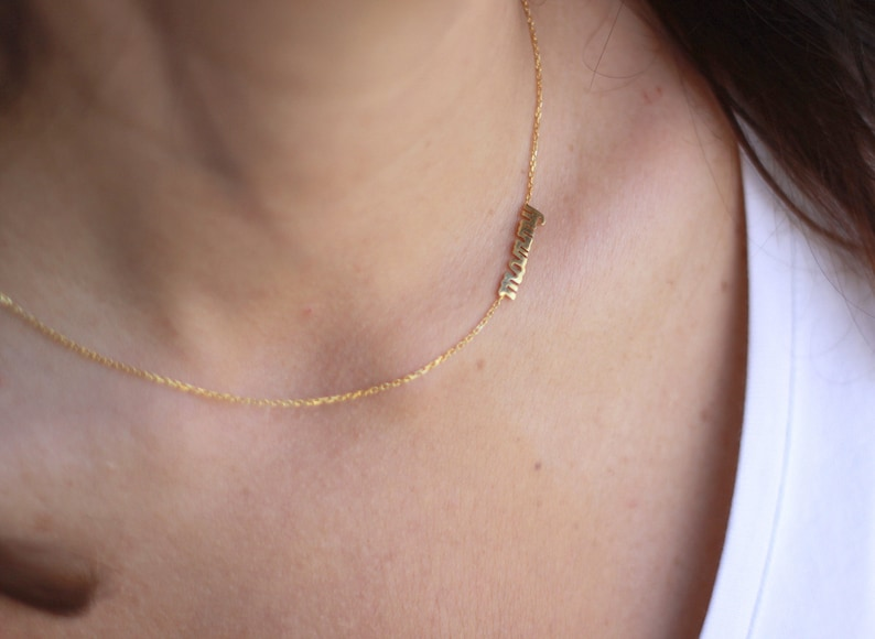 Thin Gold Name Necklace Silver Name Necklace 14k Solid Gold Sideways Name Necklace Personalized Tiny Name Necklace MothersDay Gift