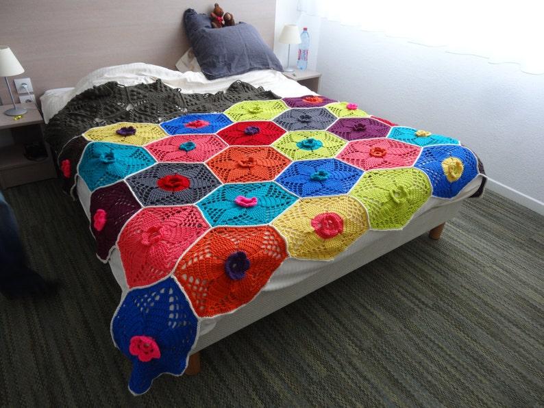 Lotus Flower Blanket Couverture Crochet Pattern Etsy