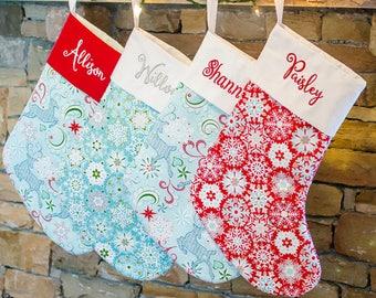 XMas Stocking, Christmas Sock, Family Stockings, Personalized Christmas Stocking, Family Christmas Stockings   Forshee Designs