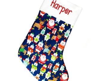 Personalized Christmas Stocking , Santa Stocking , Family Christmas stockings , Kids Stocking , Kids Christmas Stocking