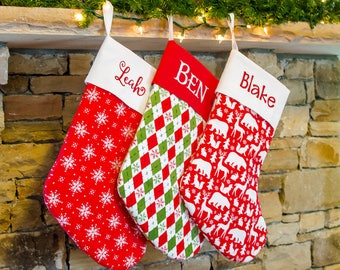 Traditional Handmade Christmas Stocking | Personalized Embroidered Stocking | Christmas Trees | Red and Green  Forshee Designs
