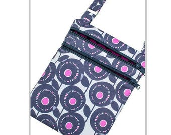 CLEARANCE Cross Body Purse | Purple and Gray Floral | Adjustable Strap | Ready To Ship
