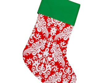 Personalized Christmas Stocking | Polka Dots | Red and White Dot | Green Cuff | CS0023