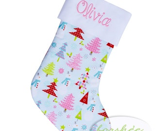 Baby Girl First Christmas Stocking Embroidered Stocking | Personalized Stocking Option Available |