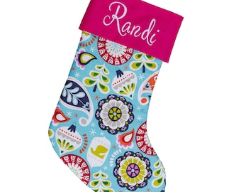 Large Holiday Stocking | Bright Blue Ornaments | Hot Pink Stocking | Personalized Stocking Option Available   Forshee Designs