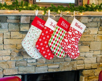 Large Christmas Stocking | Red Stocking | Snowflakes | Traditional Holiday Decor Classic Christmas |  CS0053 by Forshee Designs