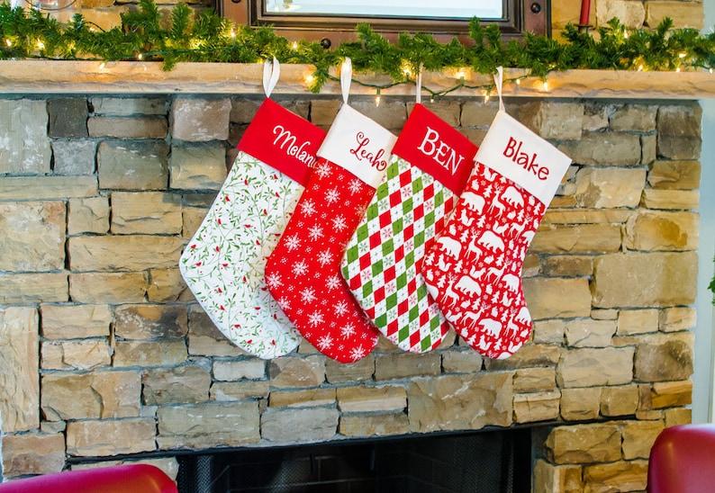 Large Christmas Stocking  Red Stocking  Snowflakes  image 0