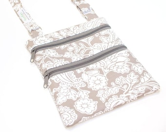 Cross Body Purse | Small Cross Body Bag | Adjustable Strap | Gray Paisley