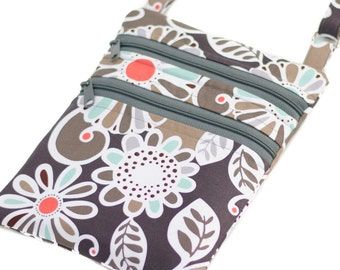 Cross Body Purse Small Purse Zip Purse Adjustable Strap Monogrammed Purse Option Available -- Aqua Gray Floral Fling --
