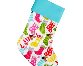 Christmas Stocking for Pets | Dogs and Cats | Pink and Green  |  CS00035 by Forshee Designs