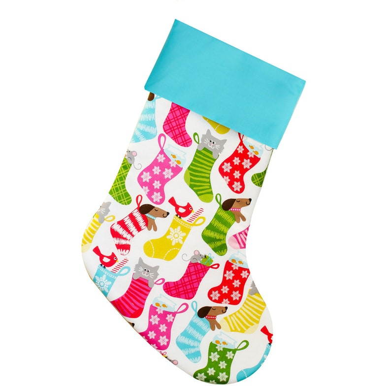 Christmas Stocking for Pets  Dogs and Cats  Pink and Green image 0