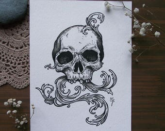 Skull - Original ink drawing