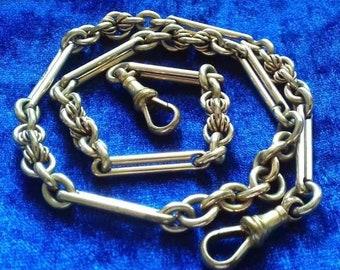 Magnificent antique Albert chain necklace gold charm holder
