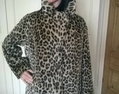 Stunning vintage faux fur leopard pea coat Lister Katmandu Glenn Models size Medium jacket