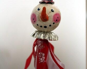 Mica Glittered Folk Art Vintage Look Snowman Ornament