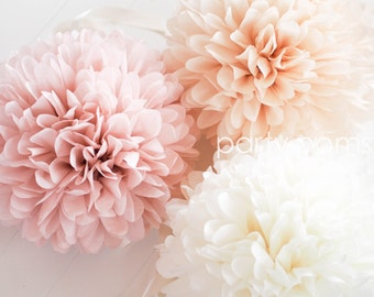 Tissue paper flowers etsy blush champagne tissue paper poms mightylinksfo