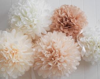 Neutrals .. 5 tissue paper pom poms .. wedding decoration / nursery room decor
