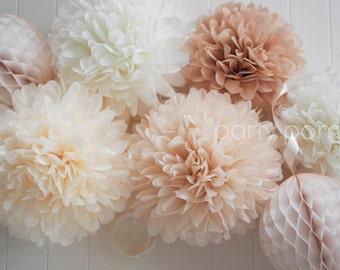 NEUTRALS tissue poms // wedding decoration // baby shower