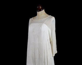 Freya - Beaded Chiffon Ostritch Flapper Wedding Dress  - Made to Order
