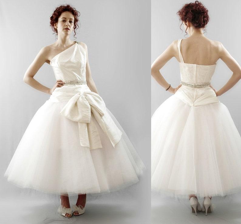 5de1ecbfa0 Astor Asymmetric Tulle Silk Wedding Dress Made to Order | Etsy