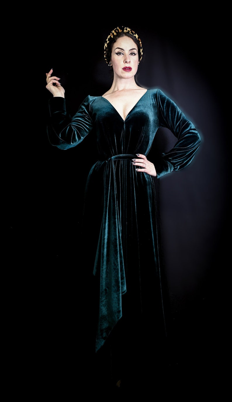 878457d1796 Vamp Dark Green Velvet Plunging Maxi Dress Gown with Bishop