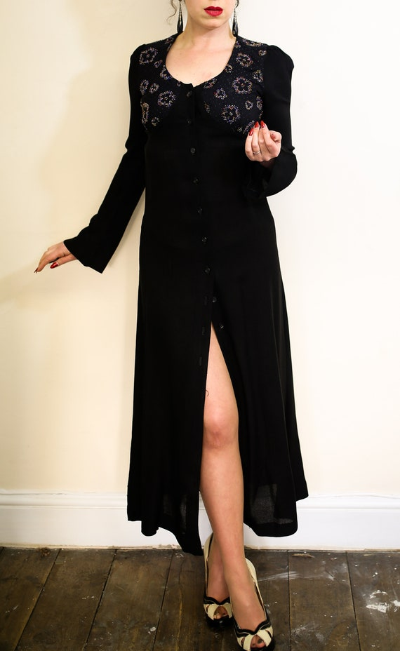 Original Vintage 1970s black beaded crepe dress -