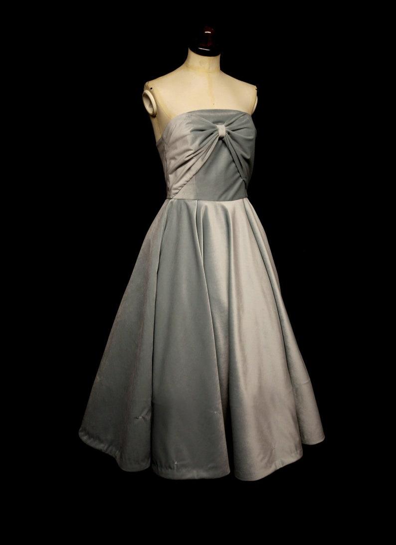 9d96267e44 Blush Blue Velvet Bow Dress with Full Circle Skirt Dress | Etsy