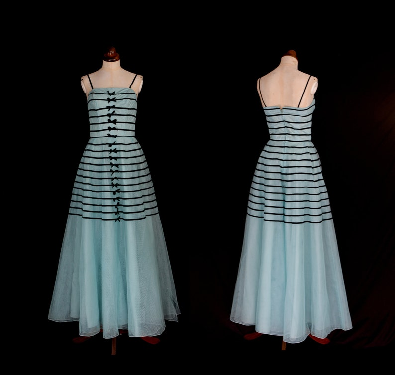 9d24f631d4 Original Vintage 1950s Blue Stripe Tulle Prom Dress - X Small - FREE  SHIPPING WORLDWIDE