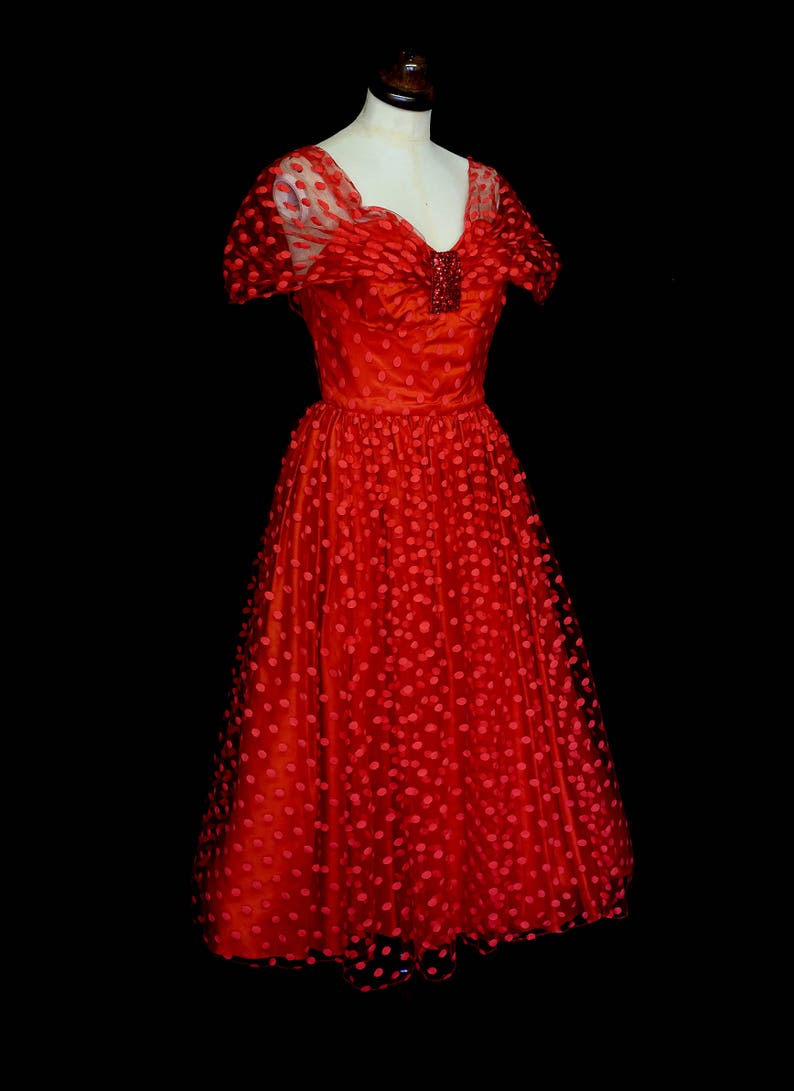 c30fe1ca7bf Vintage 1980s Red Polkadot Tulle Prom Cocktail Dress FREE