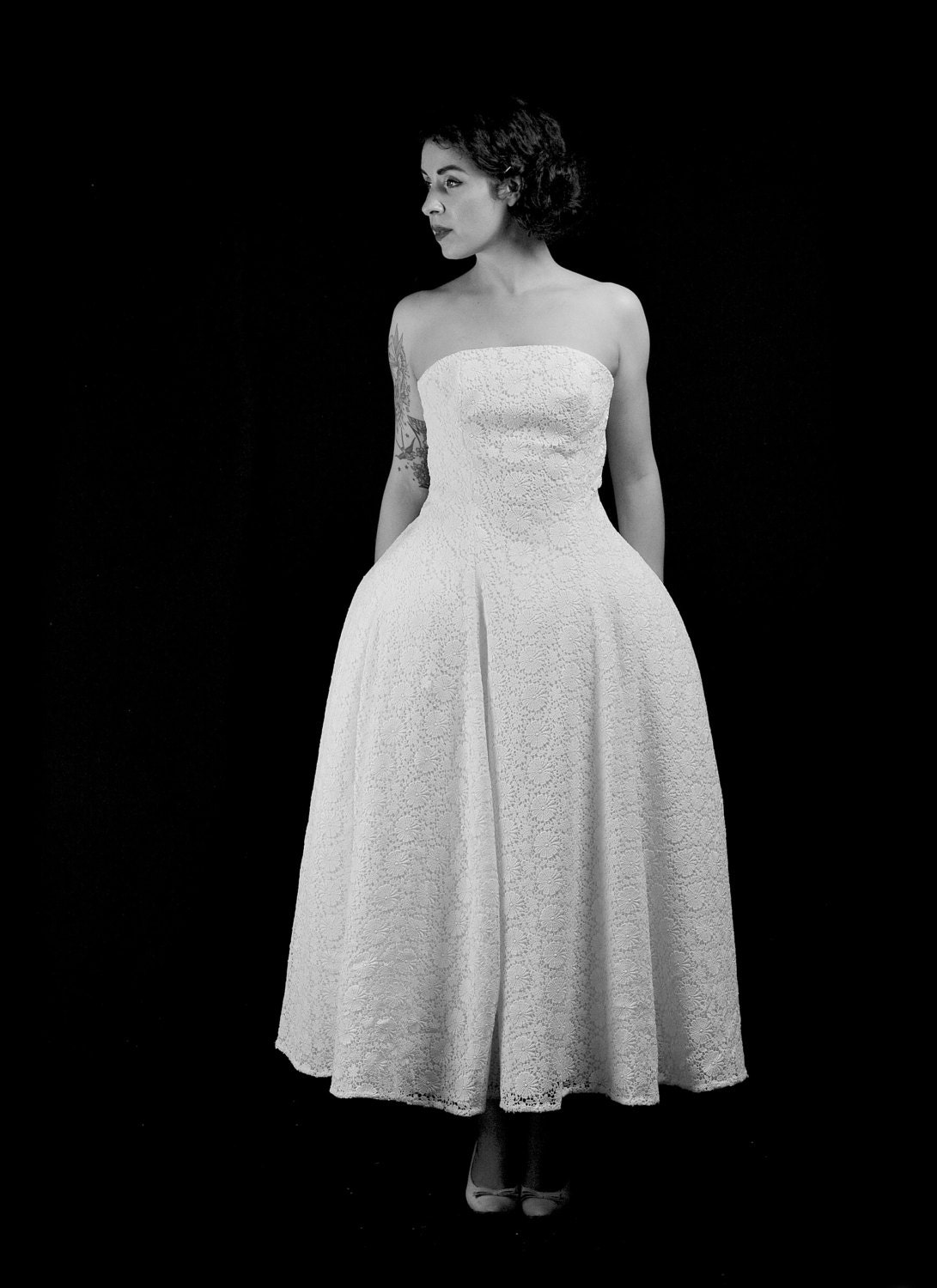 1950s Lace Lace Fashion Article Popularity Of 1950s Lace: 1950 Guipure Lace Ballet Length 1950s Style Wedding Dress
