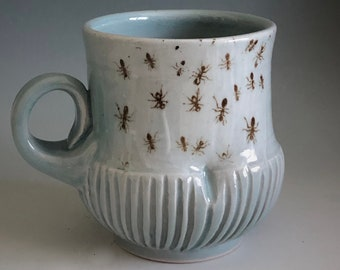 Ants Porcelain Cup - Thrown on Potter's Wheel with porcelain - Decorated with Silkscreens