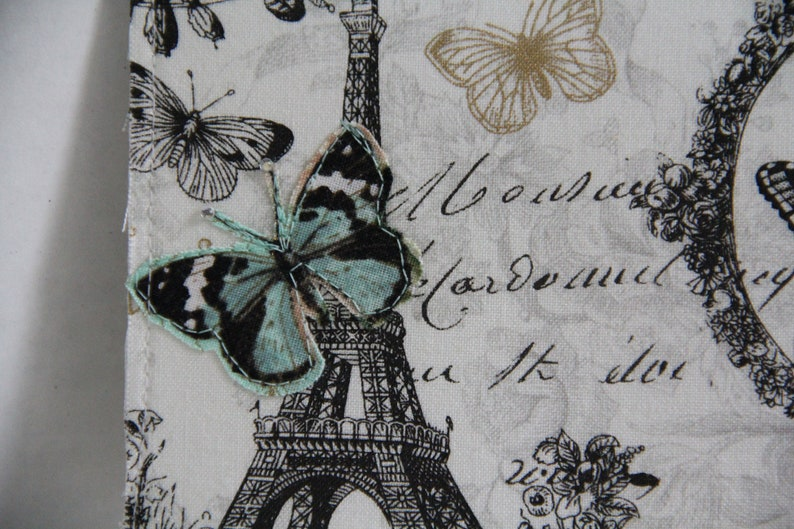 Paris Postcard with Eiffel Tower and Butterflies Paris Fabric Postcard
