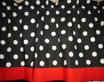 1 Black White Polka Dot Red Trim Mickey Minnie Mouse  Bedroom Kitchen Window Valance Curtain