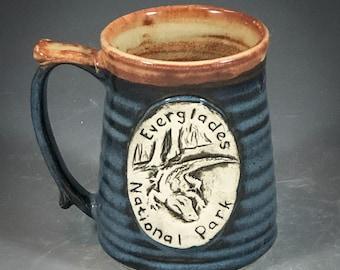 Wheel Thrown Everglades National Park Mug in Croc Blue and Shino (tan brown) Glazes