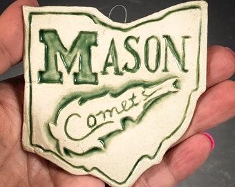 Made to order- Mason Comets- William Mason High School, Mason Ohio Christmas or window ORNAMENT