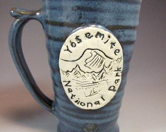 Small Wheel Thrown Yosemite National Park Mug in Croc Blue  Glazes