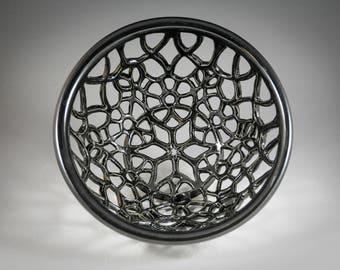 MAJOR SALE: Large Black Geometric Carved Bowl Basket Wheel Thrown and Carved Stoneware
