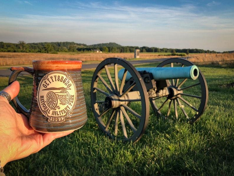 Gettysburg National Military Park Mug Wheel Thrown in Croc Blue and Shino  Tan Brown Glazes