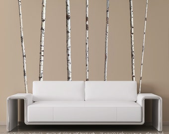 Summer Birch Trees Wall Decals - 9 ft tall (Quantity of 7)