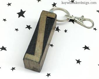 Vintage Letterpress Keyring Keychains Various Letters R S or Z