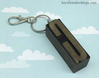 Vintage Letterpress Keyring Keychains Various Letters A E or G