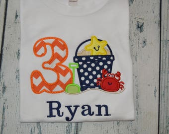PERSONALIZED Beach Birthday Shirt  Monogrammed Custom Age (1-9)  birthday Pool Party