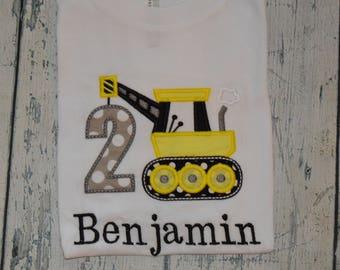 Monogrammed Construction Birthday Shirt, Personalized Crane Birthday, Boys Birthday Shirt,  Custom Number 1-8