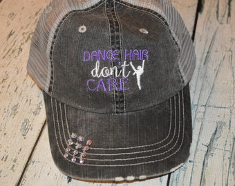 98d10330ef9b9 Dance Hair don t Care Distressed Trucker Hat