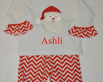 cb064d50e SALE Personalized Santa Outfit 18 Month - Christmas Shirt and Ruffle Pant  Set