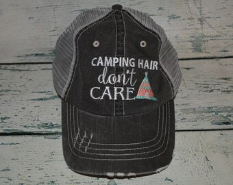 2196b1542de Camping Hair don t Care Distressed Trucker Hat