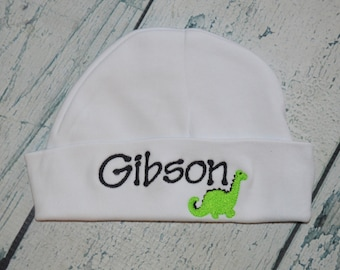 Personalized Baby Beanie Cap, Monogrammed Infant Hospital Hat,  You Choose Colors and Design