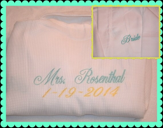 06ab8b11de Monogrammed Bride Robe Front and Back Wedding Date or I DO