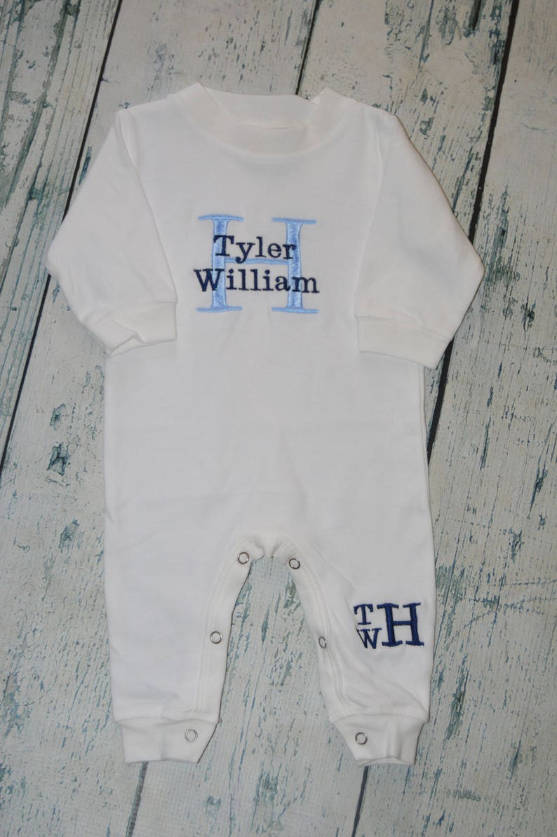 Monogrammed Newborn Baby Boy Outfit Chest and Leg Monogram, Monogram Baby Sleeper Romper Personalized Take Home Outfit