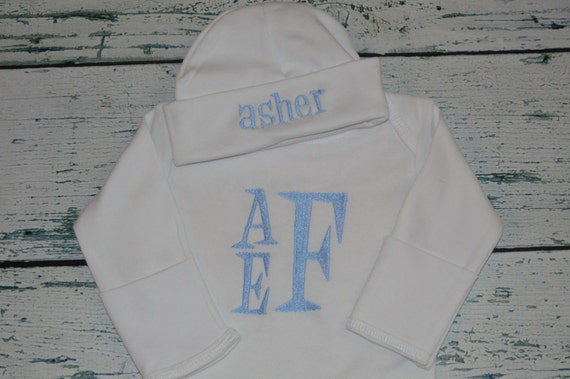 PERSONALIZED Infant Gown and Hat Outfit  Stacked Monogram Retro Font